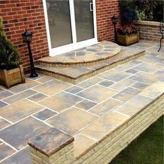 Patio steps Patio Steps, Front Entry, Garden Inspiration, Garden Ideas, Walkway, Garden Plants, Entryway, Outdoor Decor, House