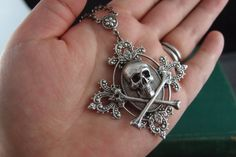 Aged Sterling silver plated brass skull cameo gothic by UpBrass