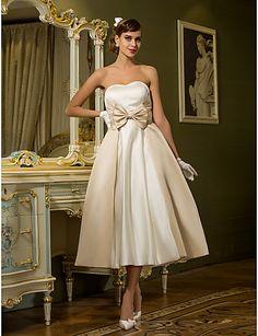 Lanting A-line / Princess Petite / Plus Sizes Wedding Dress - Ivory Tea-length Sweetheart Satin 2016 - $79.99