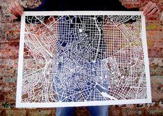 Amazing Hand Cut Map Art- Karen O'Leary