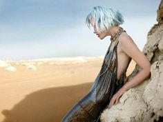 Futuristic Desert Editorials - Definitely love the idea of one of the models having different colored hair.  Love this dress too...