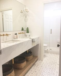 "Becki Owens on Instagram: ""A shot from our #arbolesproject girls bathroom! Custom marble vanity and marble mosaic tiles by @newravenna. Also this weeks favorites on Beckiowens.com."""