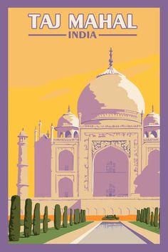 Taj Mahal India - Vintage Travel Poster