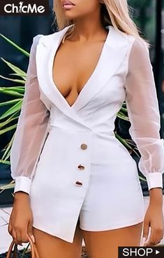 Notched Collar Sheer Mesh Insert Long Sleeve Buttoned Blazer Romper - How To Be Trendy Classy Outfits, Stylish Outfits, Emo Outfits, Summer Outfits, Suit Fashion, Fashion Dresses, Two Piece Rompers, Suits For Women, Clothes For Women