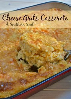 Cheese Grits Casserole - Made recipe in in glass dish (had to use 2 eggs) - leftovers would be yummy w/a fried egg on top! Cheese Grits Casserole, Casserole Dishes, Casserole Recipes, Breakfast Casserole, Hominy Casserole, Turkey Casserole, Potato Casserole, Southern Thanksgiving Recipes, Thanksgiving Table