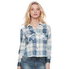 Women's Rock & Republic® Crop Plaid Shirt, Size: Medium, Med Blue