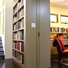 Bookshelf/pocket door room divider