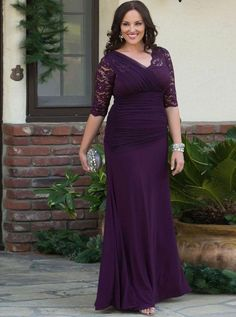 Plus Size Mother of the Bride Dresses long,Purple Mother of the Bride Dresses summer, plus size Mother of the Bride Dresses with Sleeves - Wishingdress