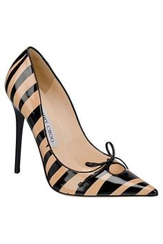 Jimmy Choo Black & Brown Striped Cruise Shoes 2012 #Pumps #JimmyChoo #Choos