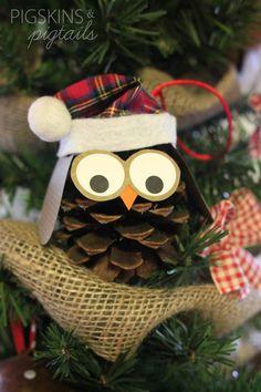 Owl Christmas Pine Cone Ornament