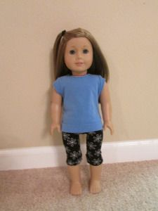 American Girl Doll Casual Outfit: Light Blue Trendy Tee, Black/White Flower Leggings with Patterns