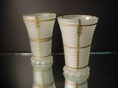 Rare Pr. Frosted Manhattan Vases w/ormolu Anchor Hock $175