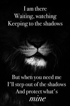 I am there, waiting, watching, keeping to the shadows. But when you need me, I'll step out of the shadows and protect what's mine.