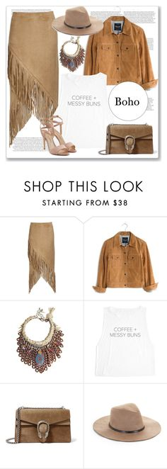 """Boho Girl"" by irina-ny ❤ liked on Polyvore featuring Nightwalker, Madewell, Gucci, BCBGMAXAZRIA and Paul Andrew"