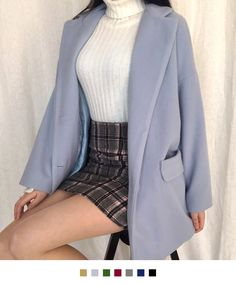 Give your winter ensemble a polished look by wearing this soft single-breasted coat. It comes with a classic notched lapel long sleeves two flap pockets button-front closures a comfy quilt lining and a mid-thigh length for ample coverage. Korean Street Fashion, Asian Fashion, Aesthetic Fashion, Aesthetic Clothes, Cute Casual Outfits, Pretty Outfits, Cute Fashion, Fashion Outfits, Mode Kpop