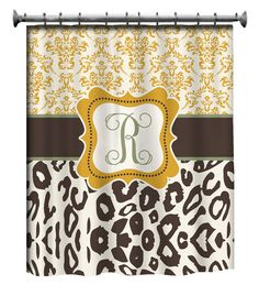 Personalized Shower Curtain - Custom with your Name or Initials - Damask & Leopard. $78.00, via Etsy.