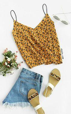 Floral Print V Neck Cami Top