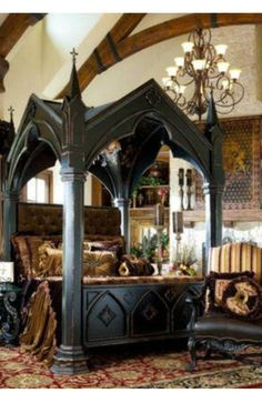 Gothic canopy bed fashion forward Custom made. Canopy Bed - Gothic Bed - Medieval Bedroom Ideas - Medieval Gothic Home - Medieval Kings Bed - Gothic Castle Bed Gothic Interior, Gothic Home Decor, Interior Design, Medieval Home Decor, Room Interior, Interior Ideas, Medieval Bedroom, Victorian Bedroom, Steampunk Bedroom