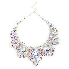 Silver Iridescent Statement Necklace (£19) ❤️ liked on Polyvore featuring jewelry, necklaces, silver necklace, silver jewelry, iridescent necklace, statement necklace and iridescent jewelry