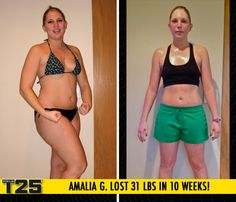 "Amalia G. lost 31 lbs in 10 weeks with Focus T25!    ""Apart from my weight loss, which was my initial goal, my body fat percentage went way down. The best part about Focus T25 is that it helped me like me again! I feel strong, I feel healthy and I feel really good about myself."""
