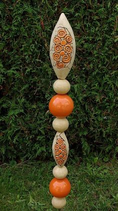 Stele Garten Orange Beige Frostfest Unikat Handarbeit töpfern in Garten &…