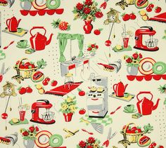 Michael Miller Fabric- Fifties Kitchen- Retro 50's Kitchen Appliances on Cream- Novelty Fabric. $8.00, via Etsy.