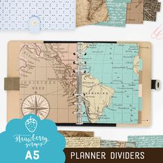 Planner dividers  Vintage maps  Old  Travel  by StrawberryScraps