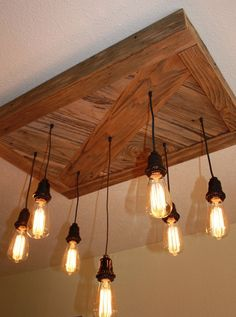 Reclaimed Wood Chandelier  Vintage Edison Bulbs by WornOutWood, $330.00