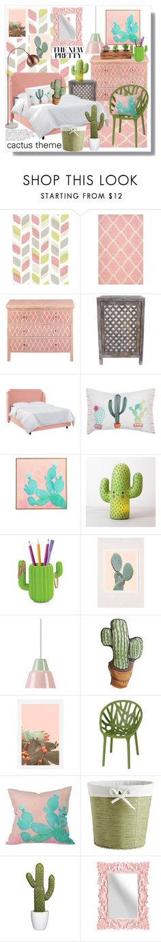 """cactus bedroom"" by artistic-biscuit ❤ liked on Polyvore featuring interior, interiors, interior design, home, home decor, interior decorating, nuLOOM, Décor Therapy, M&Co and DENY Designs"