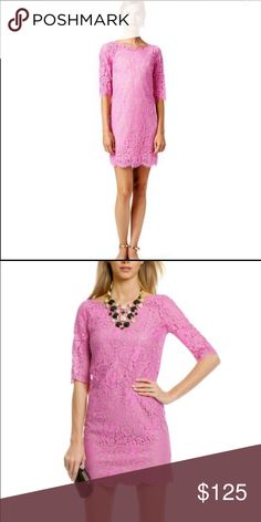 Robert Rodriguez Peony Lace Shift Dress  Purchased from Rent the Runway. Gorgeous girly pink colored lace over a nude tank underlay. Perfect for wedding season or any formal event. Robert Rodriguez Dresses
