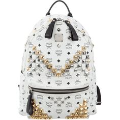 Pre-owned MCM Large Stark Visetos Backpack ($795) ❤ liked on Polyvore featuring bags, backpacks, white, canvas bags, flat backpack, canvas knapsack, canvas backpacks and canvas daypack