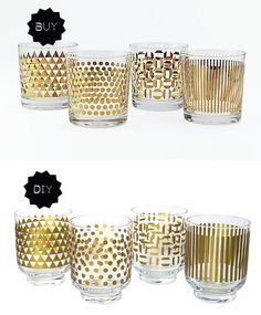 Holiday Buy or DIY: West Elm Metallic Print Glassware   Apartment Therapy