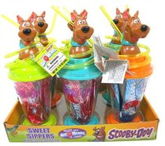 Ruh-roh! Now you can bring Scoob everywhere with these Scooby-Doo Sweet Sippers. Each cup comes with a crazy straw and five pieces of Airheads taffy.