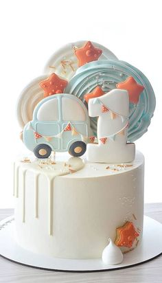 1st Bday Cake, Boys First Birthday Cake, Baby Birthday Cakes, Baby Boy Cakes, Beautiful Birthday Cakes, 1 Year Old Birthday Cake, Baby First Cake, Baby Birthday Themes, Unique Birthday Cakes