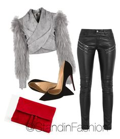 """""""Untitled #113"""" by standinfashion on Polyvore featuring Balmain, Yves Saint Laurent, Christian Louboutin and Ann Taylor"""