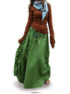 "Idea2lifestyle Women's Maxi Skirt ""Peacock"" Green (XX-Small)"