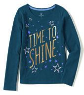 classic Girls Plus Scalloped Edge Novelty Holiday Graphic Tee-Time To Shine,M