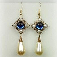 Catherine Parr sapphire pearl drop earrings.
