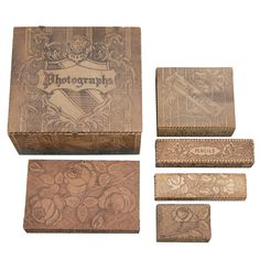 6 Piece Stationary Set with Pyrography Decoration | From a unique collection of antique and modern boxes at http://www.1stdibs.com/furniture/more-furniture-collectibles/boxes/
