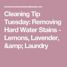 Cleaning Tip Tuesday: Removing Hard Water Stains - Lemons, Lavender, & Laundry