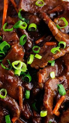 Slow Cooker Mongolian Beef ~ It's melt in your mouth tender and has AMAZING flavor... One of the best and easiest things you will ever make!