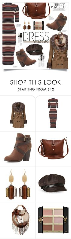 """""""Winter Dresses Under $100"""" by sinesnsingularities ❤ liked on Polyvore featuring WithChic, Oasis, Charlotte Russe, M&Co, Erica Lyons, Betmar, Wilsons Leather, tarte, contest and under100"""