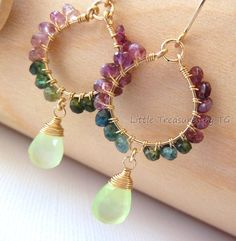 Watermelon Tourmaline and pale green Chalcedony briolette Wire Wrapped Circle Handmade Gold Chandelier earrings. Summer