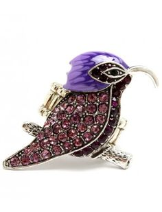 PURPLE CRYSTAL BIRD LADIES FASHION STRETCH RING - Fashion Rings - Rings - Jewellery