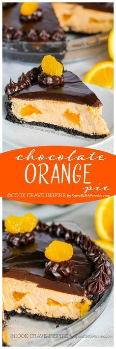 (This is my favorite pie)! This easy no bake dessert starts with an Oreo cookie crust filled with a fluffy orange cream filling and is topped with a rich chocolate ganache! Easy Chocolate Ganache, Chocolate Orange, Chocolate Desserts, Chocolate Cookies, Easy No Bake Desserts, Just Desserts, Delicious Desserts, Desserts Diy, Holiday Desserts