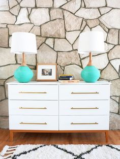 Learn how to turn an IKEA Tarva dresser into a mid century modern dresser. DIY steps included. Ikea Hack, Ikea Tarva Hack, Midcentury modern dresser DIY by liza