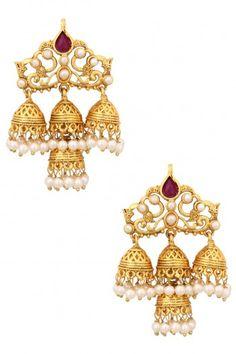 Preeti Mohan Gold Finish Cutwork Bells Earrings #happyshopping #shopnow #ppus