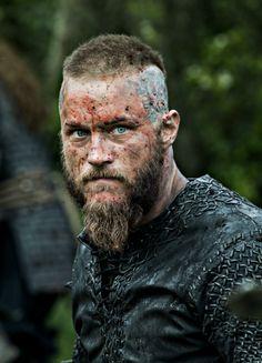 Travis Fimmel as Ragnar Lothbrok in Vikings. Enough killing for today.