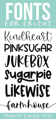 Cute cricut fonts for smooth and quick cuts! These fonts are perfect for all of your svg designs, shirts, signs and more! Cute Fonts, Fancy Fonts, Fun Free Fonts, Free Fonts For Cricut, Cricut Craft Room, Cricut Vinyl, Cricut Tutorials, Cricut Ideas, Handwritten Fonts