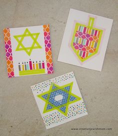 Making Hanukkah crafts with washi tape is really so much fun, and so I now present you with homemade Hanukkah cards decorated with washi tape! Of course they'll look great together with some washi tape gift tags as well, or. Hanukkah Crafts, Jewish Crafts, Happy Hanukkah, Hannukah, Holiday Crafts, Crafts For Boys, Toddler Crafts, Boy Scout Crafts, Washi Tape Cards